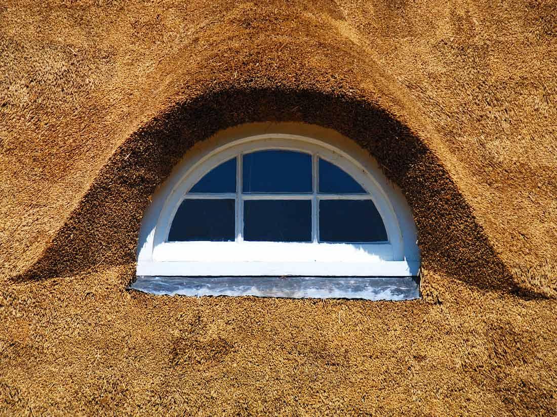 Algemeen, Rieten dak detail met dakkapel