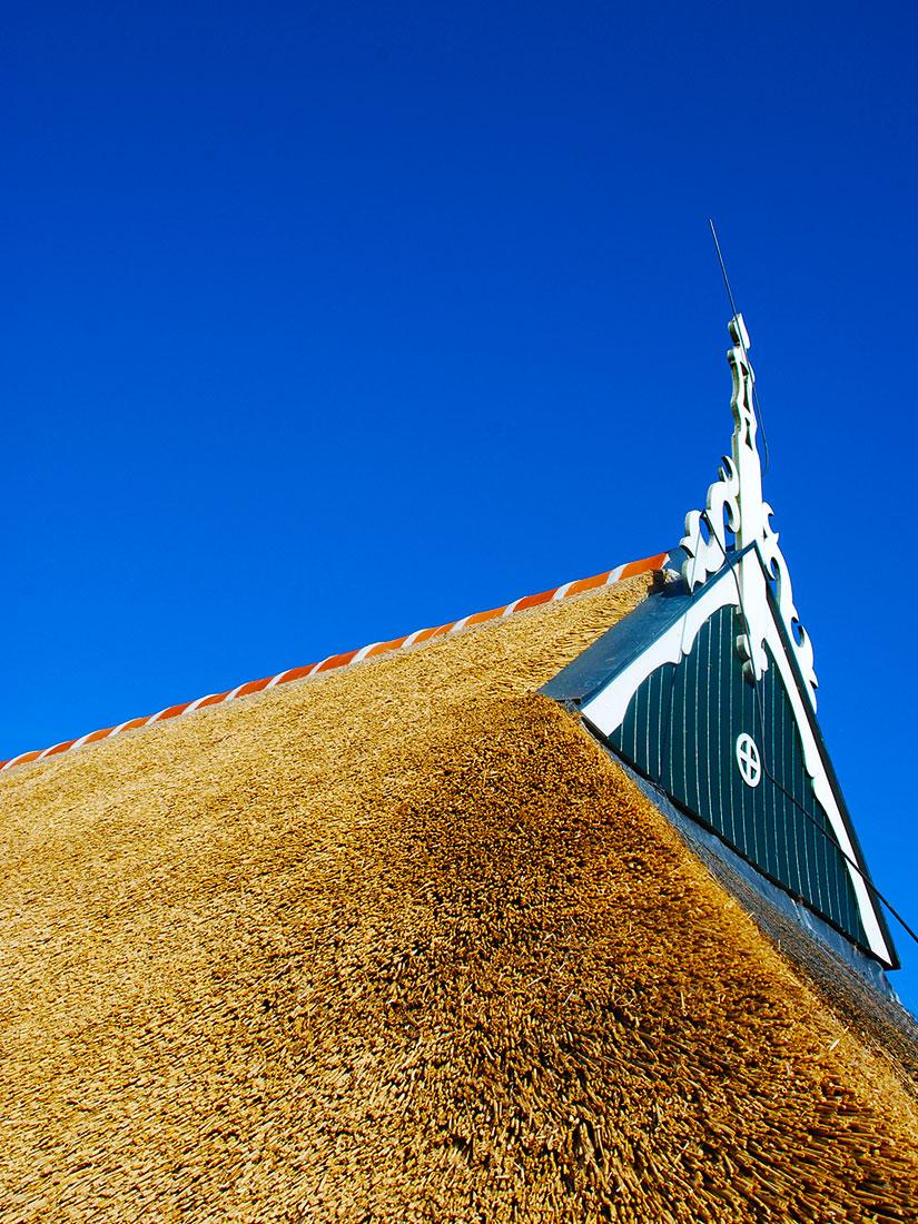 Algemeen, Rieten dak met nokvorst en uilenbord