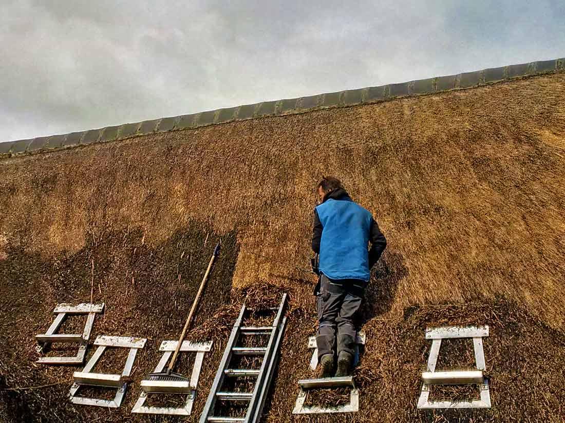 Duurzaamheid, Onderhoudswerk rieten dak