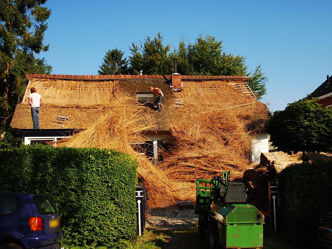 Vervangen rieten dak van een woning in glimmen glimmen haren