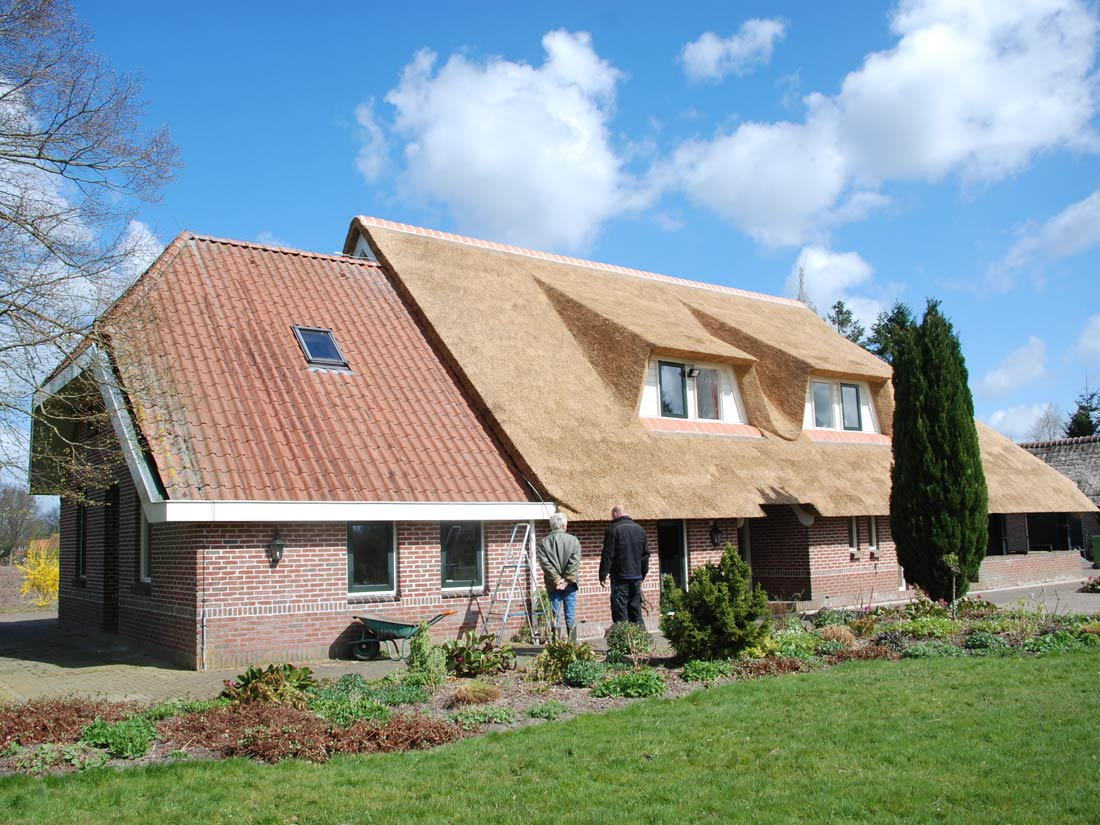 Roden -  Rietendak met dakkapellen woonboerderij Roden